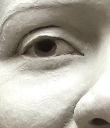 Eye Detail of Life Size clay bust of Fannie Mae Duncan Chavant HM ©Lori Kiplinger Pandy