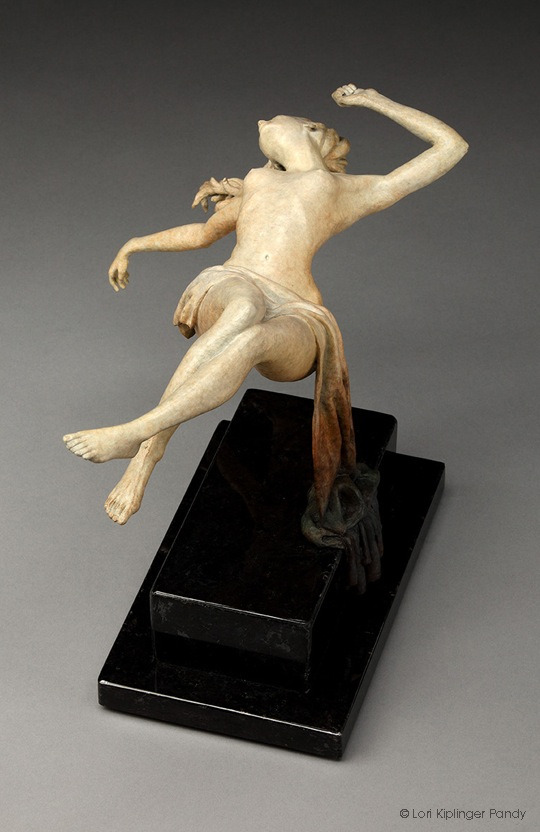 """Ascension"" ©Lori Kiplinger Pandy bronze sculpture of a woman ascending and floating."
