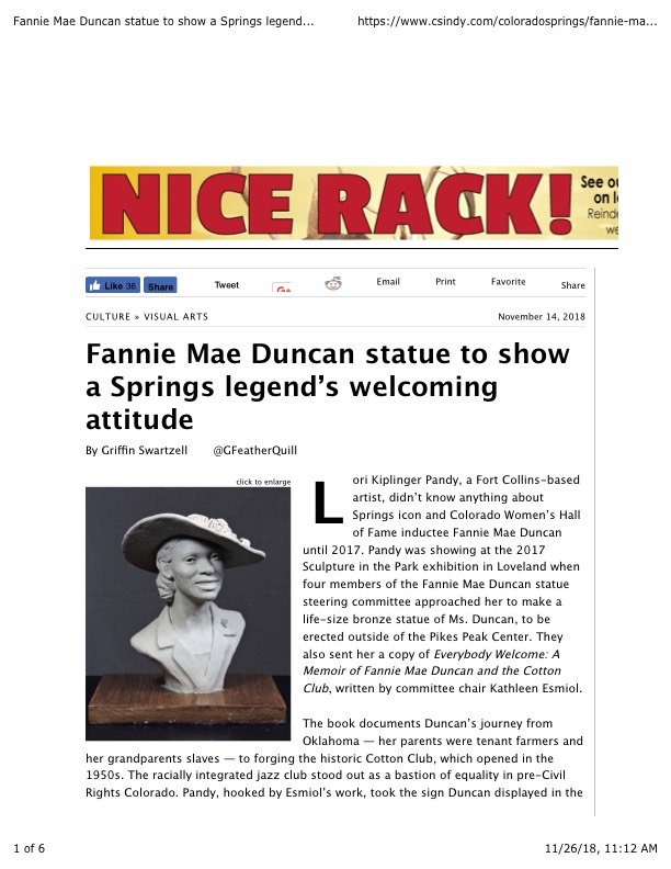 Fannie Mae Duncan statue to show a Springs legend's welcoming attitude | Visual Arts | Colorado Springs | Colorado Springs Independent
