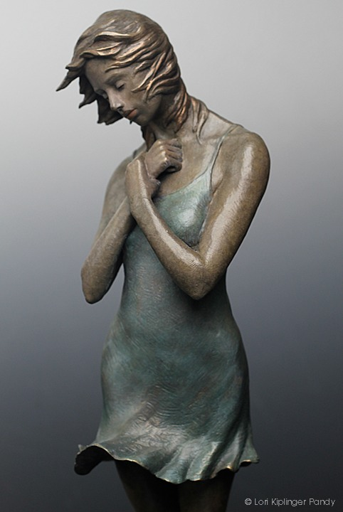 "Bronze Sculpture of woman in grief. ""A Heavy Heart"" ©Lori Kiplinger Pandy."