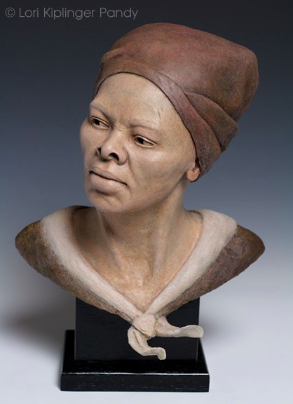 Triumph of Harriet Tubman ©Lori Kiplinger Pandy. Original stoneware ceramic portrait sculpture of Underground Conductor Harriet Tubman.