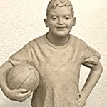 Sculpting kids with Down Syndrome - DS Boy with basketball